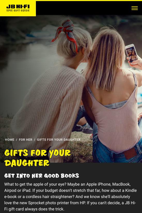 ss jbgiftguide website design home daughter mb