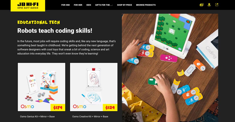 ss jbgiftguide website product eductional dt