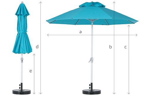 Fibreglass Tilt Outdoor Umbrella Dimensions