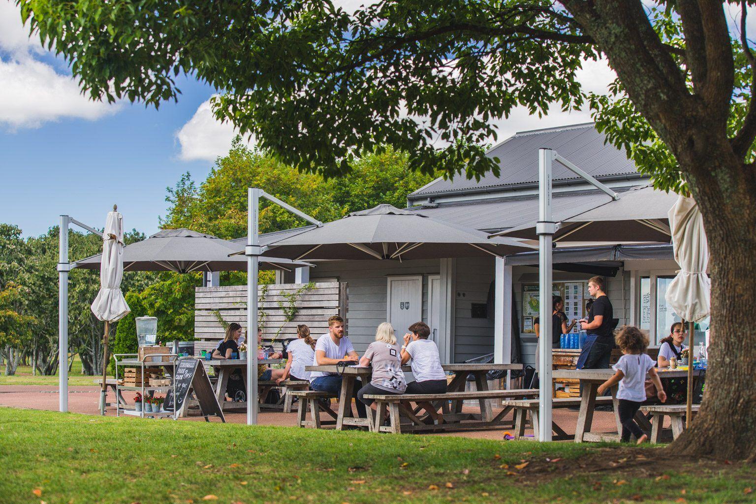 Cornwall Park Cafe Riviera Cantilever Umbrellas