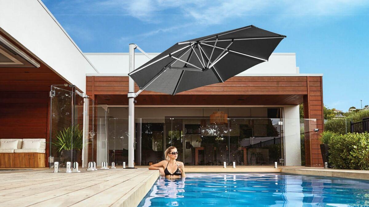 Charcoal Grey Cantilever Umbrella Auckland