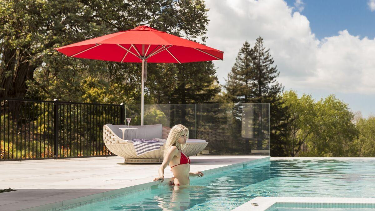 Milan Red Outdoor Pool Umbrella