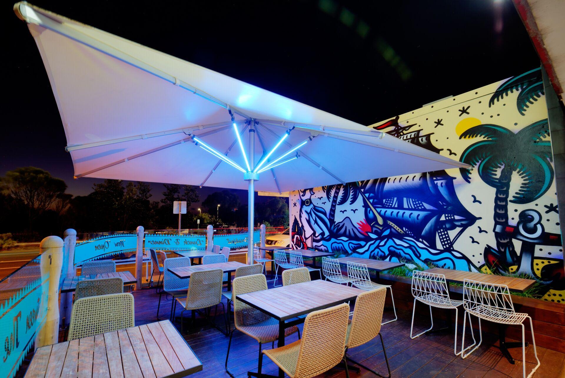 Tempest LED Outdoor Lighting Umbrella