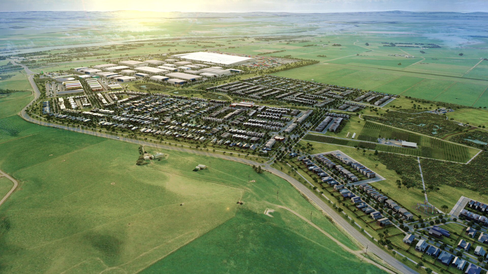 Sleepyhead plans a factory employing 1500 people and 1100 homes for 3000 people at Ōhinewai. Image / Supplied