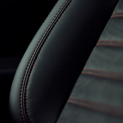 Black leather-appointed seats add a touch of luxury as well as comfort.